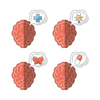Brain and icon set of mental heath mind and peaceful