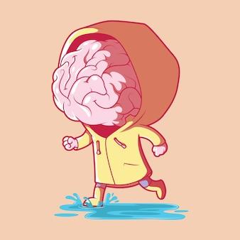 Мозг в иллюстрации бури. мозговой штурм, вдохновение, инновационная концепция дизайна.