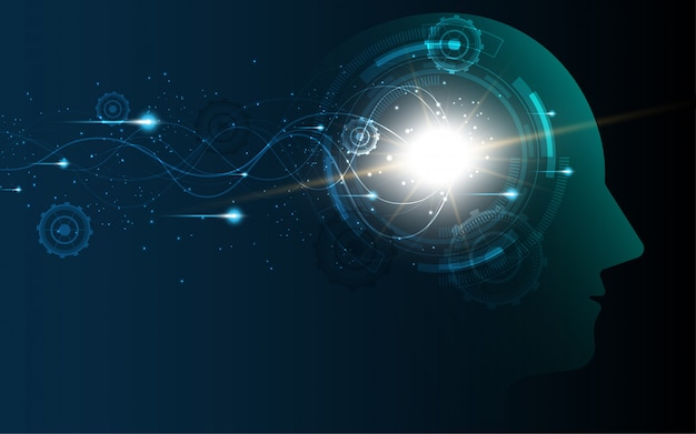 Brain inside head of human artificial intelligence digital wireframe dot