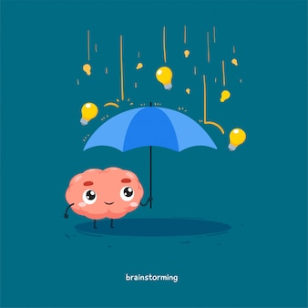 The brain is holding an umbrella with the rain of light bulb.