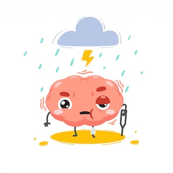 The brain is hurt with a storm above. isolated illustration