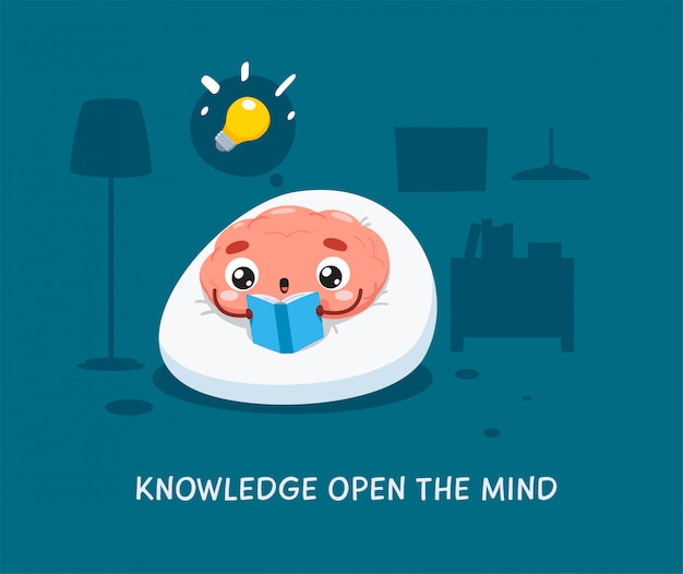 A brain is reading the blue book. isolated illustration