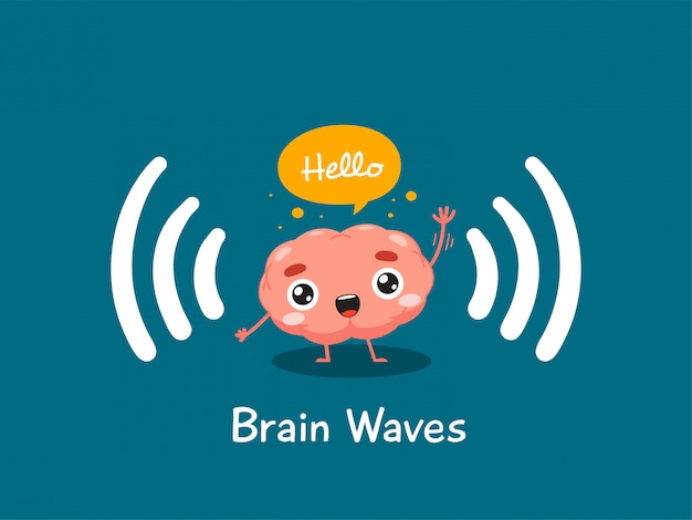 The brain is waving hand. isolated illustration