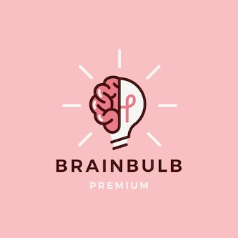 Brain lamp bulb logo  icon illustration