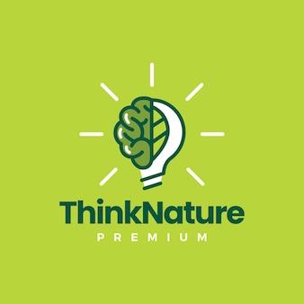 뇌 잎 전구 생각 자연 아이디어 로고 템플릿