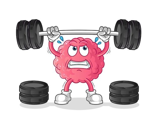 Brain lifting the barbell character. cartoon mascot