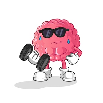 Brain lifting dumbbell . cartoon character