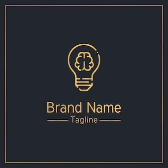 Brain and light bulb modern golden logo  template