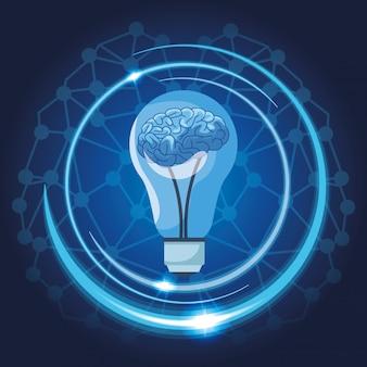 Brain in light bulb