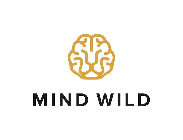 Brain and lion face outline simple sleek creative geometric modern logo design