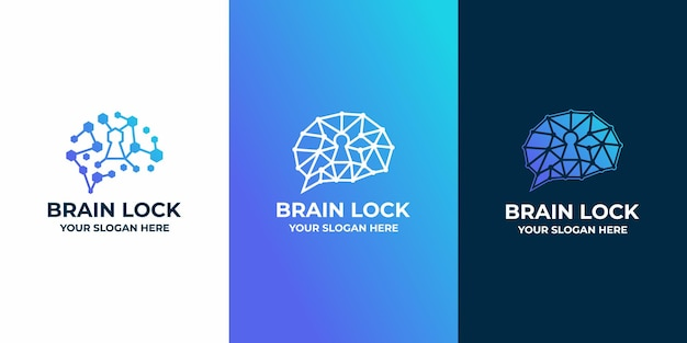 Brain lock combination logo with circuit line art
