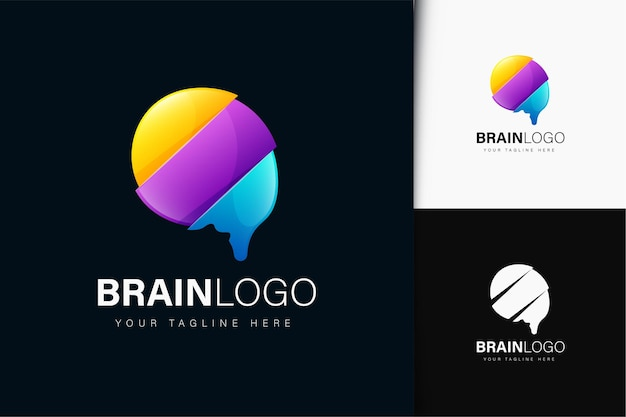 Brain logo design with gradient