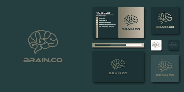 Шаблон письма логотипа мозга с современной концепцией и визитной карточкой