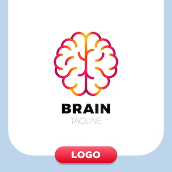 Brain logo silhouette design vector template linear style.