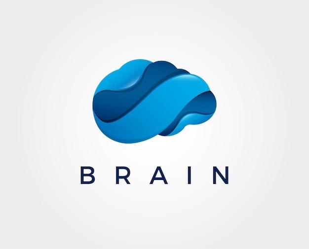 Brain logo silhouette design vector template think idea concept brainstorm power thinking brain logotype icon logo