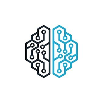 Шаблон логотипа мозга