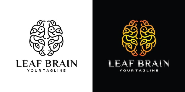Brain logo with leaf