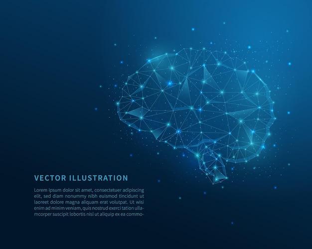 脳の低ポリワイヤーフレーム。