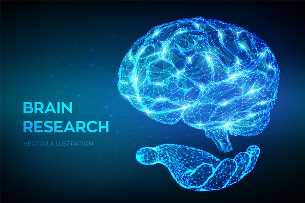 Мозг. низкий многоугольной абстрактный цифровой человеческий мозг в руке.