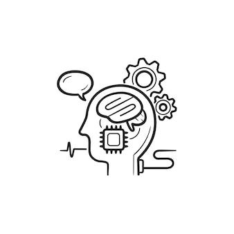 두뇌 기계 인터페이스 손으로 그린 개요 낙서 아이콘. 뇌-컴퓨터 및 직접 신경 인터페이스 개념. 인쇄, 웹, 모바일 및 흰색 배경에 인포 그래픽에 대한 벡터 스케치 그림.