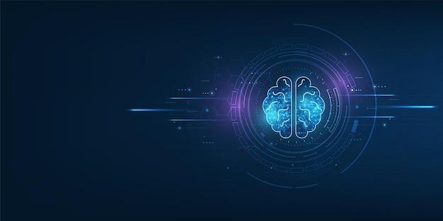 디지털 배경에서 빛나는 와이어프레임으로 만든 두뇌 프리미엄 벡터