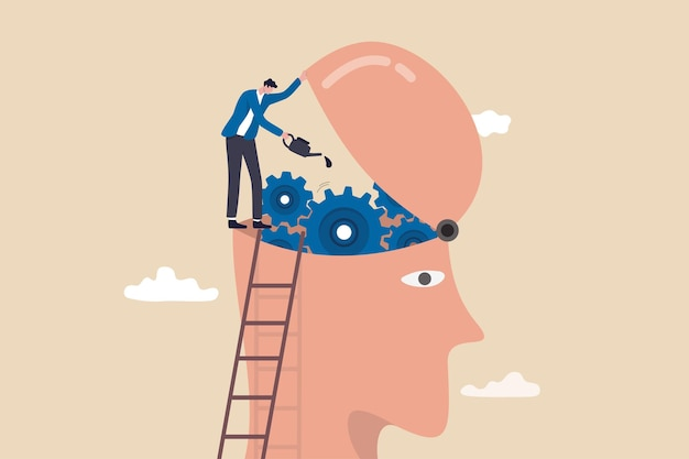 Brain maintenance, fixing emotional and mental problem, boost creativity and thinking process or improve motivation concept, man climb up ladder to fix and lubricate gear cogs on his brain head.