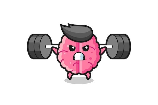 Brain mascot cartoon with a barbell , cute style design for t shirt, sticker, logo element