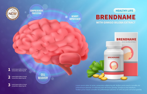 Brain medicine advertising realistic composition of human brain image and drug package with editable brand name illustration