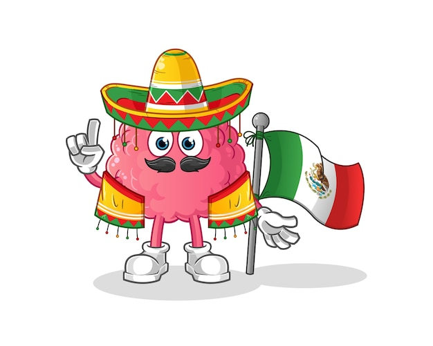 Brain mexican with traditional cloth and flag character. cartoon mascot