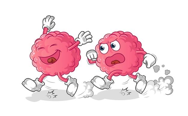 Мультфильм погони играть мозг, изолированные на белом
