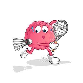 Brain playing badminton illustration. character