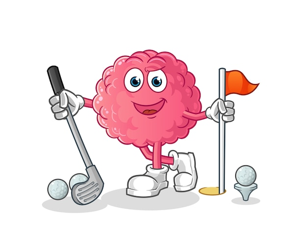 Brain playing golf . cartoon character