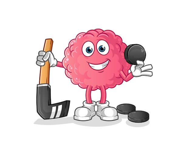 Brain playing hockey . cartoon character