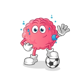 Brain playing soccer illustration. character