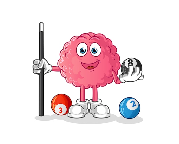 Brain plays billiard character. cartoon mascot
