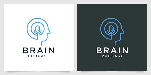 脳のポッドキャストラインアートのロゴデザイン