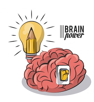 Brain power and light bulb