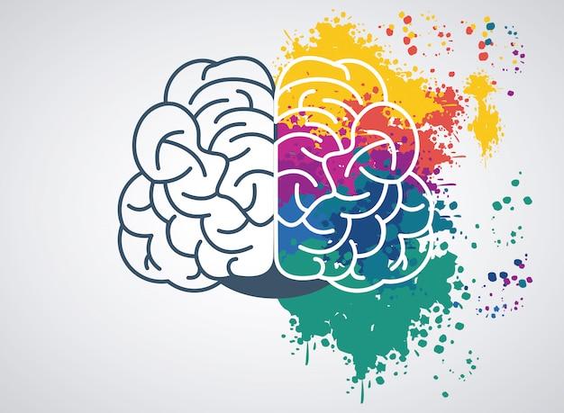 Brain power illustration with set paint colors