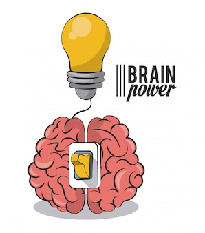 Brain power with light bulb