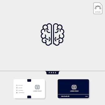 Brain premium logo template, business card template include