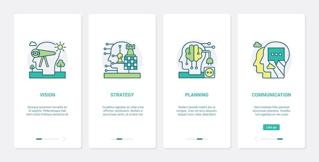 Brain processes in vision, planning business strategy, ux, ui mobile app page screen set