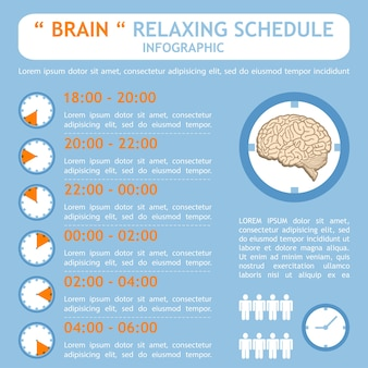 Brain relaxing schedule plan infographic
