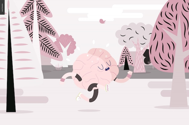 Brain running in the forest
