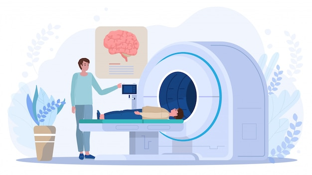 Brain scanning in mri machine, doctor and patient in clinic, vector illustration