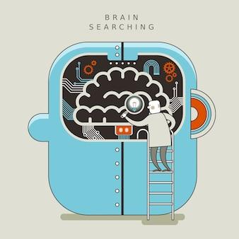 얇은 선 스타일의 뇌 검색 개념 그림