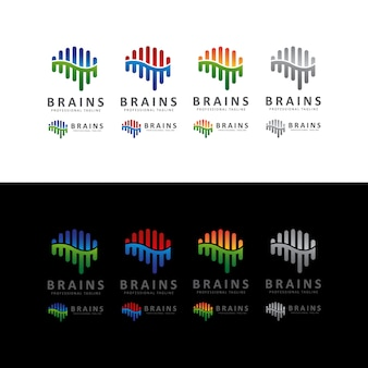 Brain shape sound wave logo