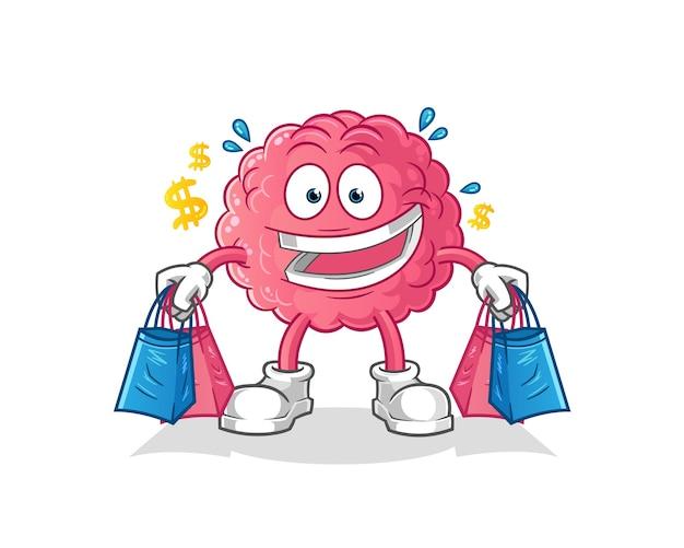 Brain shoping mascot.