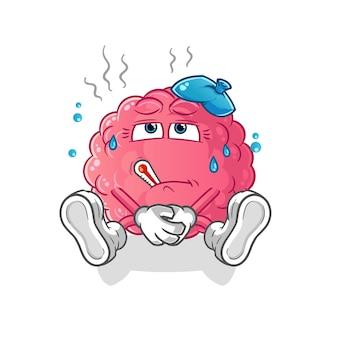 뇌 아픈 만화 캐릭터 흰색 절연