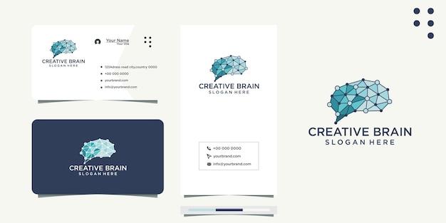 두뇌 실루엣 두뇌 아이디어 디자인 및 명함