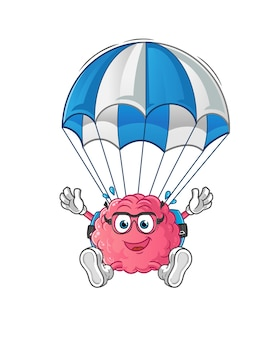 Brain skydiving character. cartoon mascot
